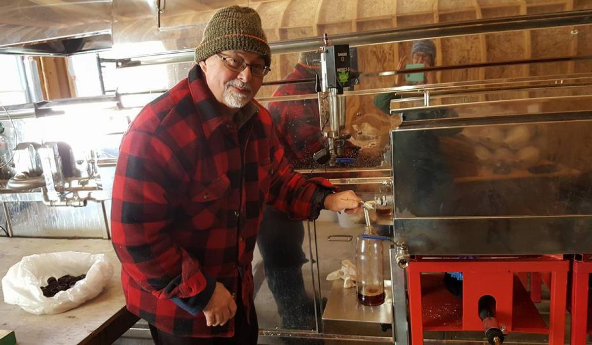 Mark Bramham boiling maple sap in the Haliburton Highlands