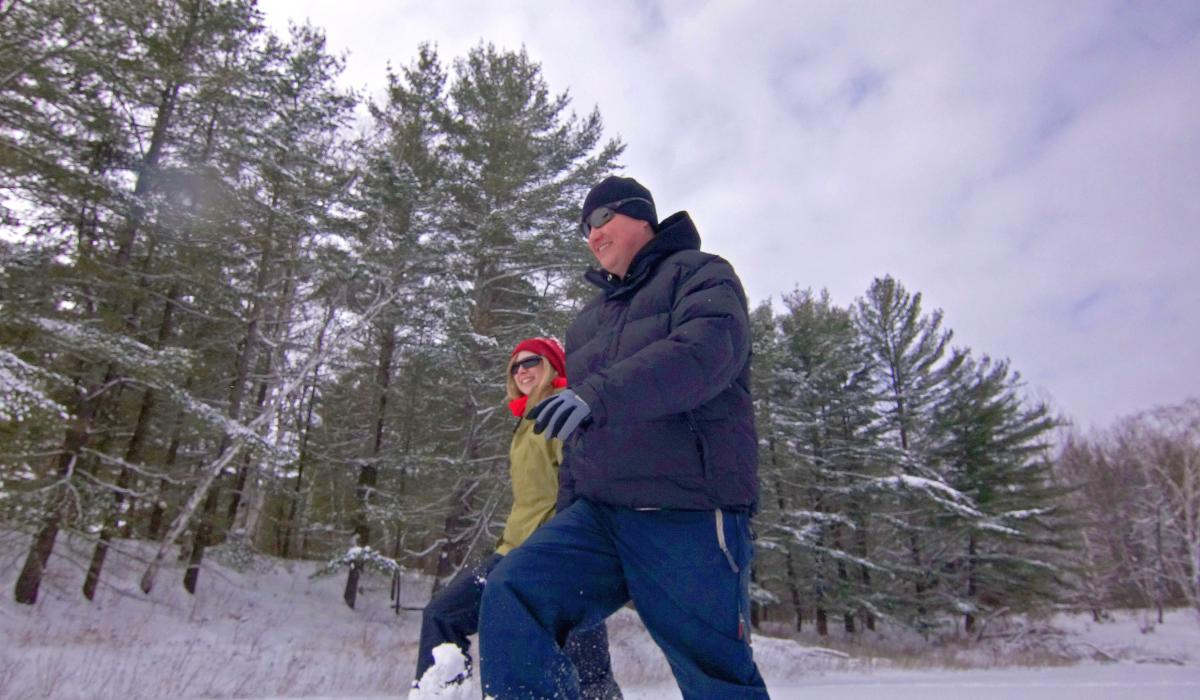 Snowshoeing in the Haliburton Highlands in Ontario , Canada