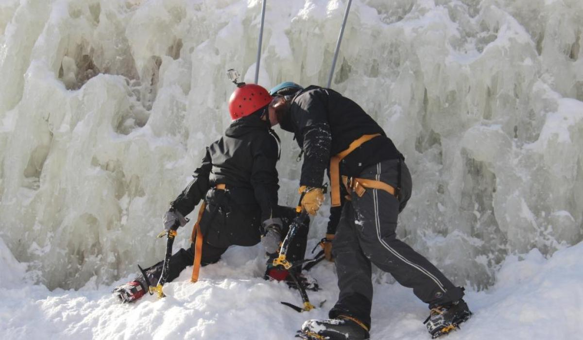 Valentine's kiss on the ice wall. Ice climbing in the Haliburton Highlands