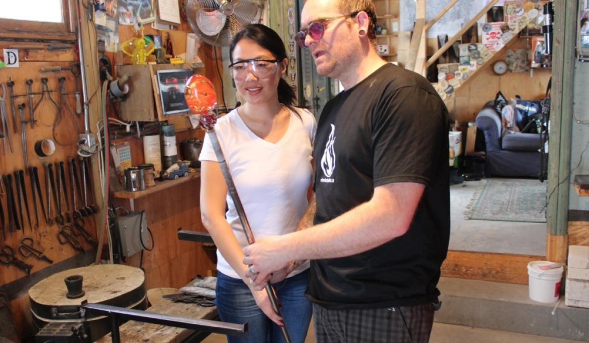 Try your hand at glassblowing at Artech Studio in the Haliburton Highlands