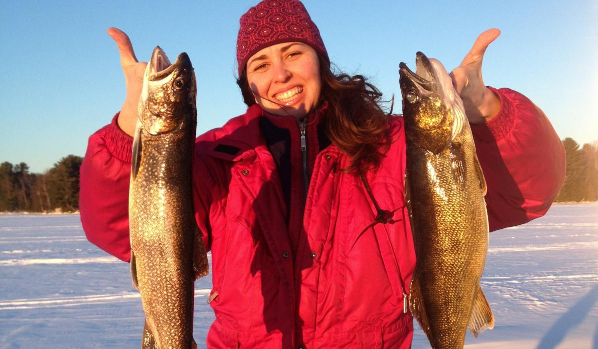 lake trout, ice fishing , Boshkung Lake, Haliburton Highlands