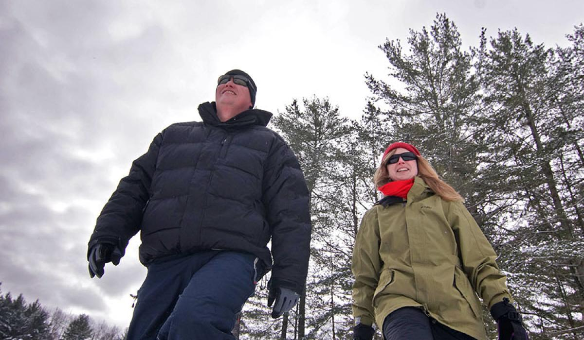 Snowshoeing in winter, Haliburton Ontario