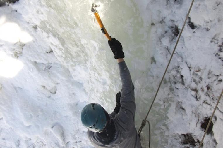 Ice climbing on the shores of  Kushog Lake in the Haliburton Highlands with Yours Outdoors and Basecamp 35
