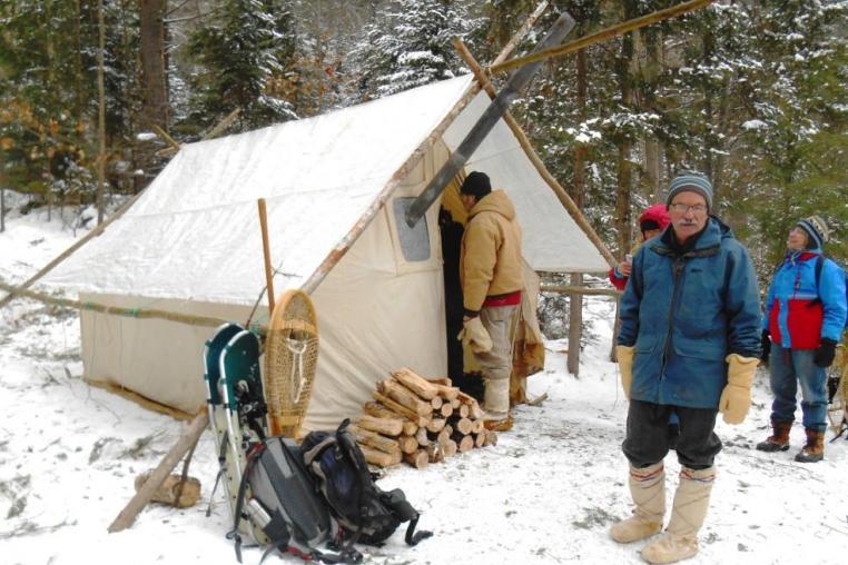 Traditional Winter Camping in the Haliburton Highlands, Ontario, Canada
