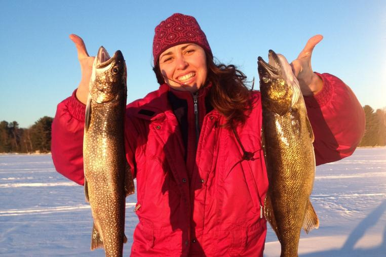 lake trout, ice fishing , Boshkung Lake, Haliburton Highlands