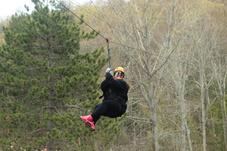 Zip lining at Medeba Adventure Learning Centre in the Haliburton Highlands in Ontario