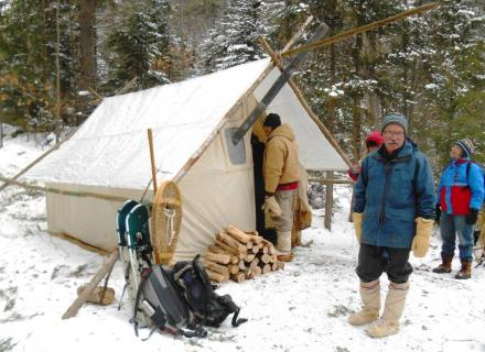 Traditional Winter Camping in the Haliburton Highlands, Ontario, Canada
