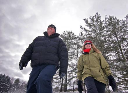 snowshoes , snowshoeing, winter, Haliburton Highlands. Ontario , Canada