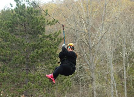 Zip lining at Medeba Adventure Learning Centre in the Haliburton Highlands in Ontario